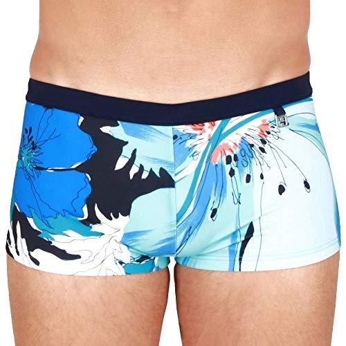 HOM Herren Aqua Swim Shorts Badehose, Gros Imprimé Floral Camaieu De Bleus, Ceinture Marine, M