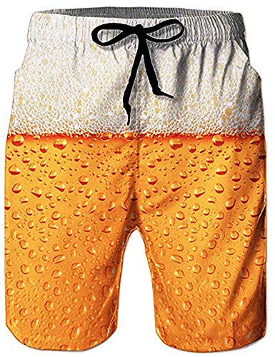 Loveternal Badehose für Herren 3D Duck Bier Badehose Herren Kurze Schnelltrocknend Surf Shorts Gelb L