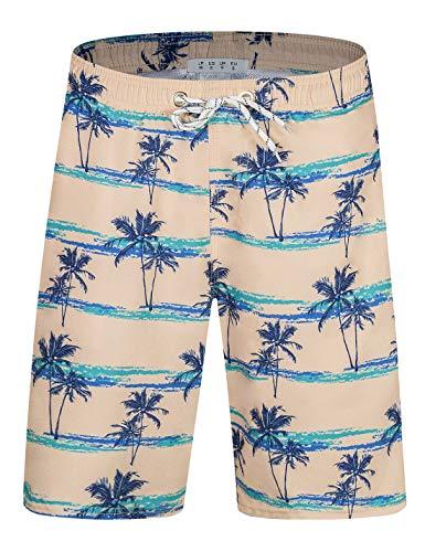 Herren Badehose mit Taschen, schnell trocknend, lang, elastischer Bund, Boardshorts, Urlaub - Beige - XXX-Large