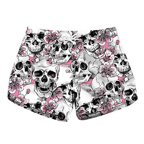HaiDean Floral Skulls Damen Badeshorts Surfen Shorts Sommer Blumen Modernas Blumenmuster Badehose Mode Sommer Frauen Strand Badeshorts Strandhose Hose (Color : Blumen, Size : M)