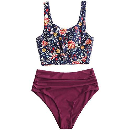 ZAFUL Zweiteiliger Bikini Set, verknotet Oberteil Tankini mit Blumenmuster Sexy Beachwear Sommer (Blumen-weinrot2, L