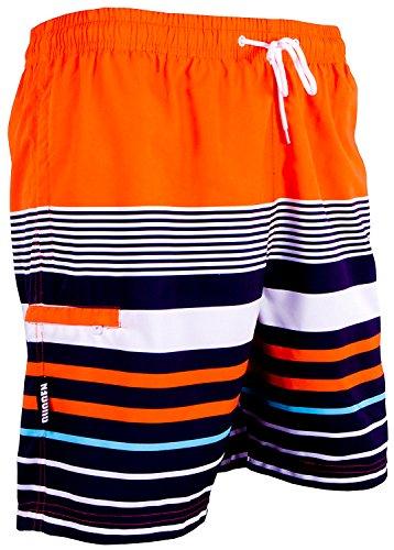 GUGGEN Mountain Badehose für Herren Schnelltrocknende Badeshorts 595 mit Kordelzug Beachshorts Boardshorts Schwimmhose Männer mit Muster Orange Schwarz M