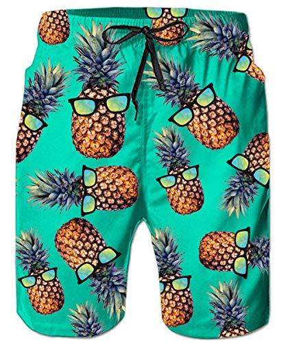 ALISISTER Bermuda Badeshorts für Herren Junge 3D Ananas Badehose Gedruckt Kordelzug Elastische Taille Strand Sporthose Swim Trunks M