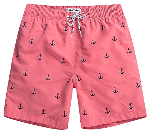 MaaMgic Badehose Herren Schnelltrocknende Badeshorts Jungen Strand Strandurlaub Surf Freizeit Laufen Sport mit Netzfutter Taschen einstellbare Kordelzug MEHRWEG-XL-Anker Pink