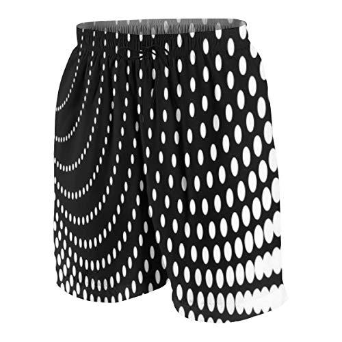 YANAIX Herren 3D Druck Kurze Badehosen,Schwarzweiss-Einzelteile,Schnell Trocknend Hawaii Schwimmhosen mit L