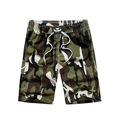 YoungSoul Herren Camouflage Badehose/Surfer Boardshorts/Beachshorts Badeshorts Sommer Strand/Knielang Armeegrün EU M/Etikette L