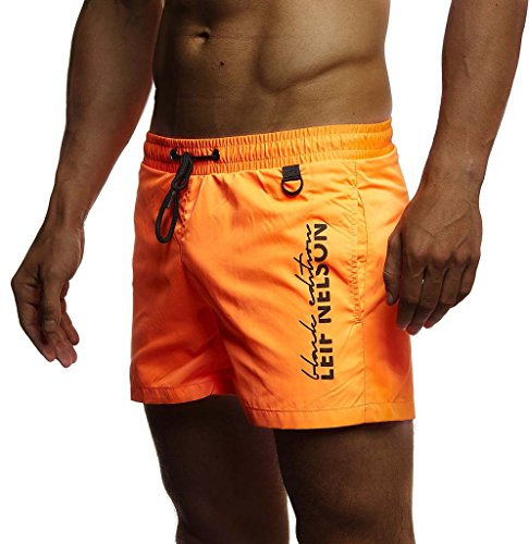 Leif Nelson Herren Sommer Badehosen Badeshorts Schwimmhose Schwimmshorts Beachshorts Strand Shorts Kurze Hosen Freizeithosen Jogginghose Cargo Hose Bermuda Chino LN9215; X-Large; Orange