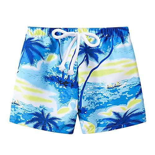 MSemis Kinder Jungen Badehose Sommer Badeshorts Schnelltrocknend Boardshorts Cartoon Drucken Kordelzug Beach Shorts Blau Baum 98-104