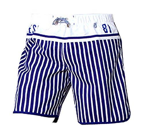 Guess Beachwear Herren Badeshort weite Badeboxer Medium Short Gr. M L XL Strandmode (XL, Marineblau-Weiss)