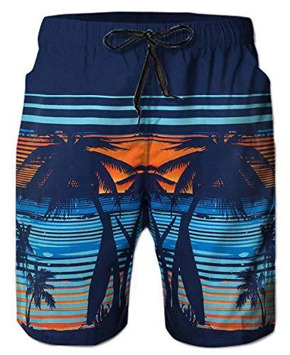 Ahegao Herren Badehose, schnelltrocknend, 3D-Druck, Strandbrett-Shorts mit Taschen, cooles Netzfutter, Badeanzug - Beige - XX-Large