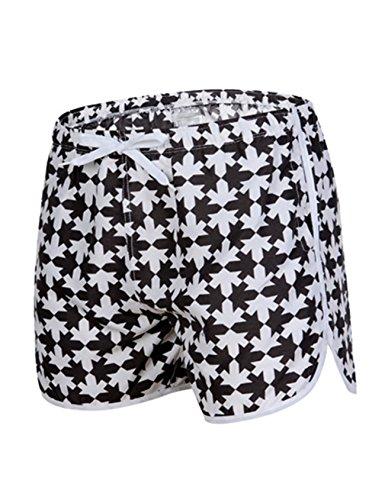 Legou Herren Boxer Badehose Schwimmhose Beachshorts Drucken Boardshorts Badehose Schwarz+Weiß 1 S