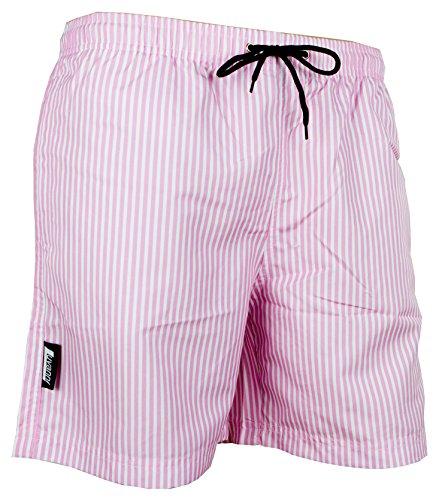 Luvanni Badehose für Herren Schnelltrocknende Badeshorts Style-1 mit Kordelzug Beachshorts Boardshorts Schwimmhose Männer Streifen Streifenmuster Farbe Rosa L
