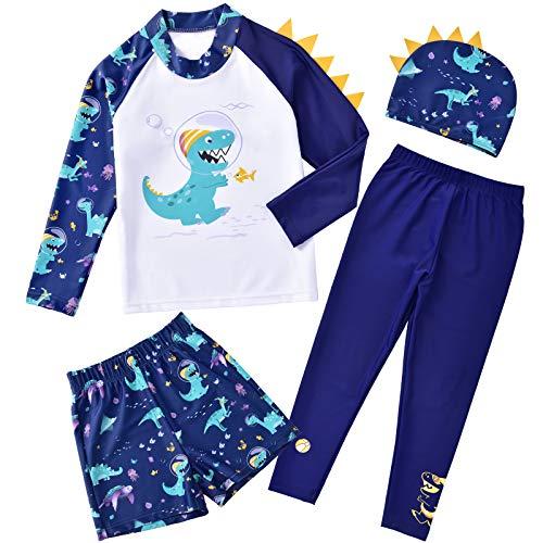 WAWSAM Jungen Langarm Badeanzug Dinosaurier UV Sonnenschutz Rashguard Badeanzug mit Hut 4 Stück Ganzkörper Dino bedrucktes Badeanzug Set für Kleinkinder Kinder (Marine, 4-5 Jahre)