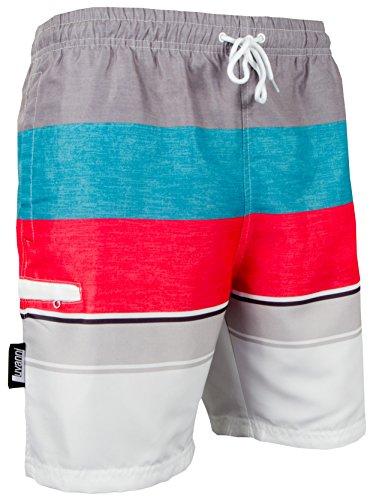 Luvanni Badehose für Herren Schnelltrocknende Badeshorts 600 mit Kordelzug Beachshorts Boardshorts Schwimmhose Männer mit Streifenmuster blau rot grau Streifen Grau Rot XL
