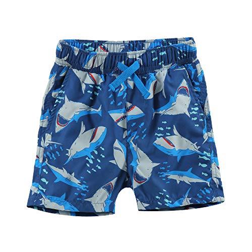 LACOFIA Kinder Badeshorts Jungen Casual Elastische Taille Badehose Kleinkind Strand Schwimmen Shorts Marineblau 5-6 Jahre