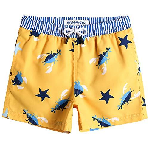 MaaMgic Badehose Jungen Sommer Badeshorts Schnelltrocknend Boardshorts mit Netzfutter Taschen und Verstellbarem Tunnelzug Urlaub Shorts Krabbe Gelb