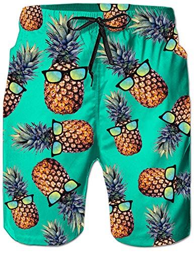 Loveternal Herren 3D Badeshorts Freizeitshorts Ananas Grafik Strandshorts Kurze Schnelltrocknend Casual Badehose Blau M