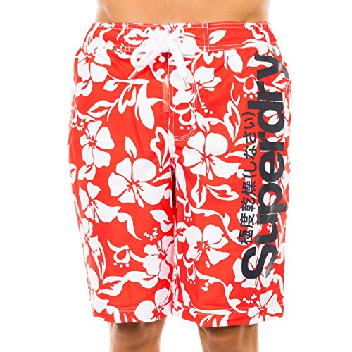 Superdry Badehose Mens Woven rot/weiß M
