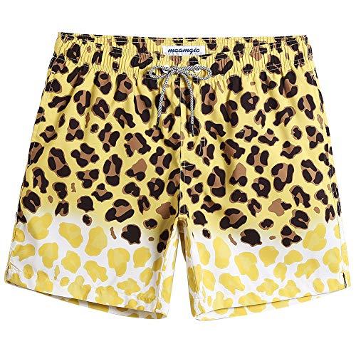 MaaMgic Badehose für Herren Jungen Badeshorts für Männer Schnelltrocknend Surfen Strandhose Surf Shorts mit Mash-Innenfutter MEHRWEG Leopard Gelb XXL