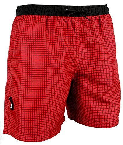 GUGGEN Mountain Badehose für Herren Schnelltrocknende Badeshorts Style-6 mit Kordelzug Beachshorts Boardshorts Schwimmhose Männer kariert Farbe Rot L