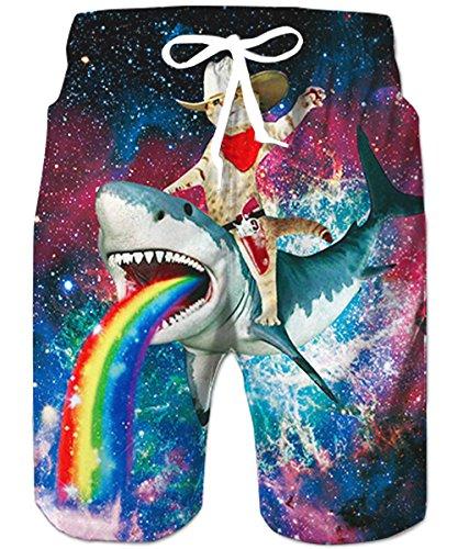 TUONROAD Herren Teens 3D Bunte Katze Hai Grafik Shorts Badehose Sommer Strand Shorts Badeshorts XL
