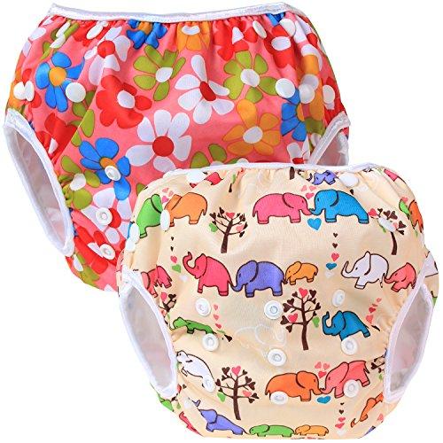 Teamoy 2-teilig Baby Schwimmhose Badewindelhose Badehose (Flowers Pink+ Elephants)