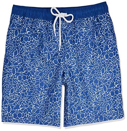 Amazon Essentials Quick-Dry 9' fashion-swim-trunks, Marineblau mit Blumenmuster, US (EU XL-XXL)