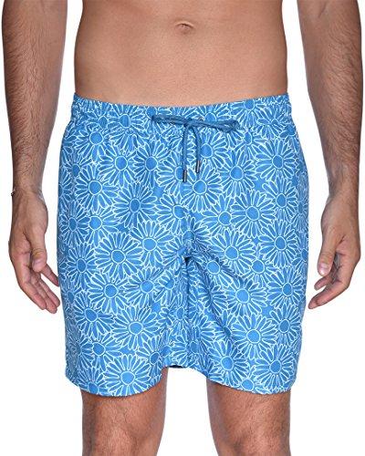 Beach Bros. Herren Badehose, Florales Aquamarin, Medium