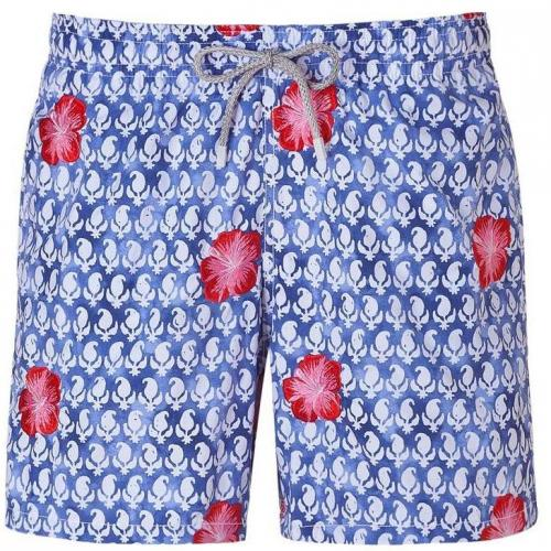 Indigo Blue Embroidered Swim Trunks von Vilebrequin