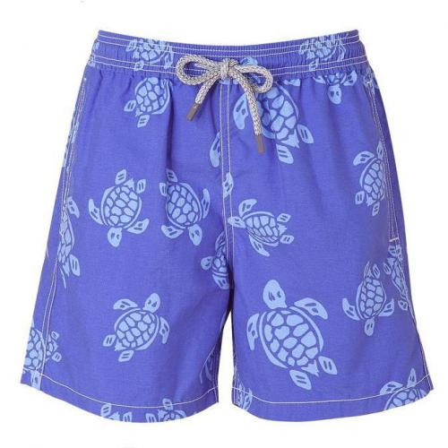 Steel Blue Turtle Print Boys Swim Trunks von Vilebrequin